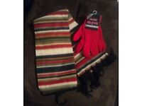 Brand new with tags Multi Coloured Scarf with Red Gloves, One Size Fits Alli