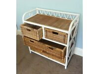 Cane Bathroom Chest of Drawers / Wicker Storage Unit Excellent condition