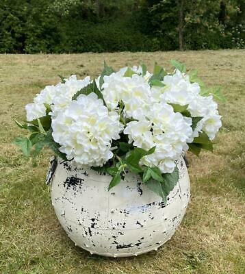 Round Iron Garden Planter Plant Pot - Vintage Distressed White - 36cm Diameter