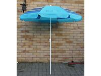GARDEN PARASOL BLUE WITH ATTRACTIVE STRIPE DESIGN FROM MARKS AND SPENCER, HARDLY USED ONLY £8