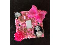 Customised pink Marilyn light switch plate