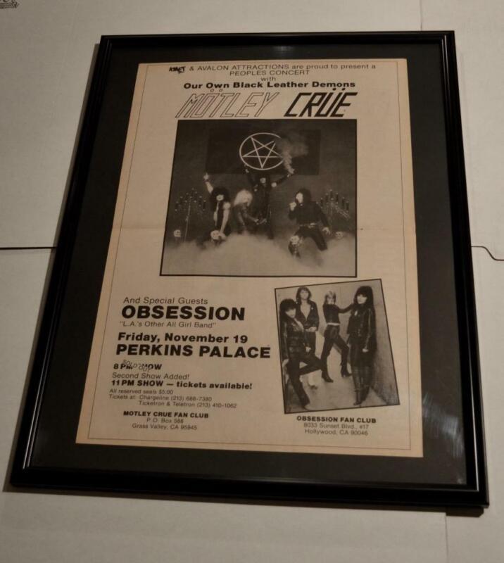 MOTLEY CRUE RARE 1982 RARE CLUB TOUR HUGE CONCERT PROMO FRAMED POSTER / AD