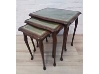 Leather Topped Nest Of Tables (DELIVERY AVAILABLE FOR THIS ITEM OF FURNITURE)