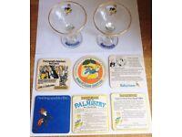 Pair of Vintage Babycham Glasses With Vintage Coasters Palm Britvic Beer Mats