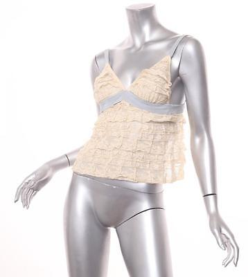 PRADA Womens Ivory+Blue Ruffle Lace Tie-Back Cami Camisole Tank Top 32/XS IT 1