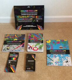 Several Different New Adult Colouring Therapy Books Plus Coloured Pencil Packs