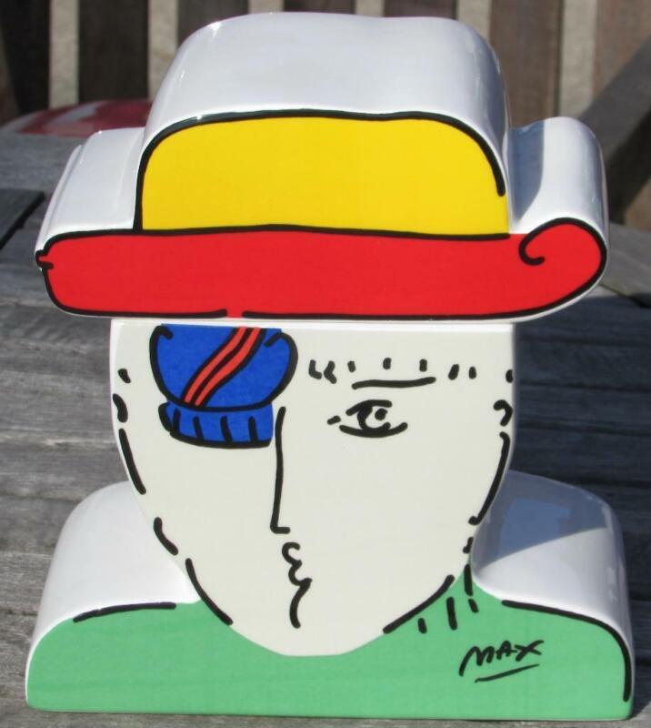 """1989   PETER MAX   Cookie Jar    """"ZERO""""   ceramic 2 pc"""