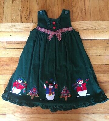 Sophie Rose girls 6 green Christmas tree snowman corduroy jumper holiday dress