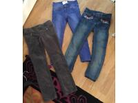3 pairs girls next jeans age 6-7 years