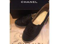 BRAND NEW black leather Chanel espadrilles UK6/EUR39