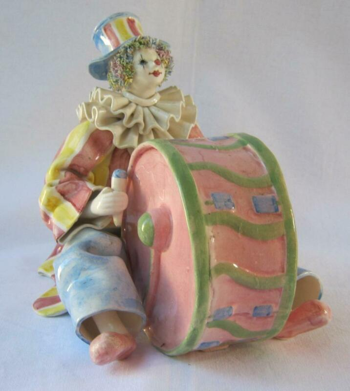 Exquisite Rare Porcelain Clown Drum Made in Italy for Gumps San Francisco No11