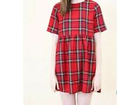 Short red tartan dress