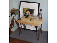 Industrial Hairpin Leg Side Table End Table Coffee Table