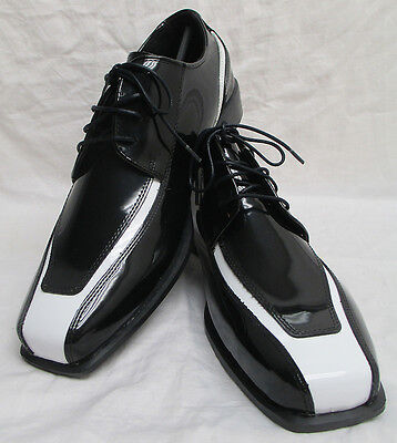 New Black & White Tuxedo Shoes Spats Retro Halloween Costume *Damaged Discount*