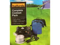 Halfords Cookset Pack includes a handy stove with saucepans, cooking utensils and a carry bag. NEW!!
