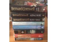 8 Bernard Cornwell hard back novels in vgc now only £10