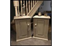Pair of Annie Sloan Hand Painted Solid Pine Bedside Cabinets
