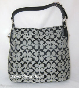 COACH-Penelope-Signature-Shoulder-Bag-Hobo-Purse-Handbag-Black-Authentic-16538
