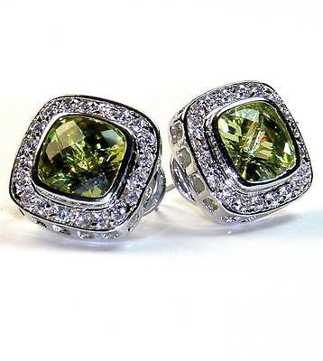 Pave & Peridot Square Cubic Zirconia Hoop-omega-french Back Earrings 15mm