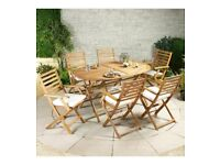 Brand New 7 Piece Cayman Wooden Hardwood Folding Kitchen Dining Set - Pine
