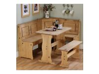 Brand New Solid Pine Corner Wooden Bench Up to 6 People Kitchen Dining Set - Pine