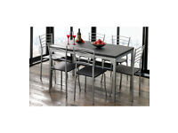 **Lowest Price Guarantee** Brand New 7 Piece Metal Framed Kitchen Dining Set - Black