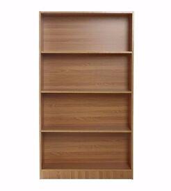 New Oak Effect Bookcase with CD Rack Unit Cabinet SET !!!