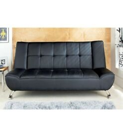Brand New Genoa BLACK Faux Leather Sofa Couch Bed Complete Sleep Solution with Chrome Legs