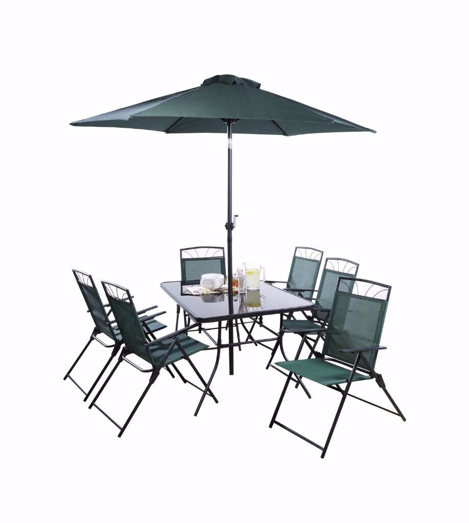 New 8 Piece Patio Set Chairs Table Umbrella Brolly Dark Green Forest