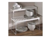 Set of 2 stacking shelves for kitchen cupboard