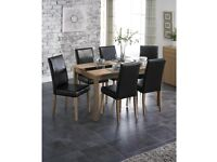Winchester 5 Piece Ash Black Faux Leather High Quality 4 Chairs and Table Dining Set