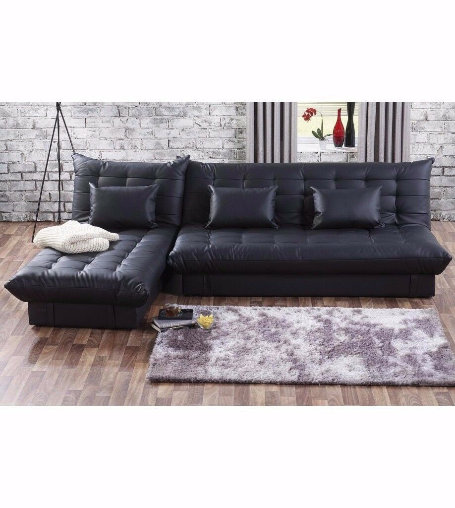 NEW! Modern Corner Sofa Storage Bed Black Leather