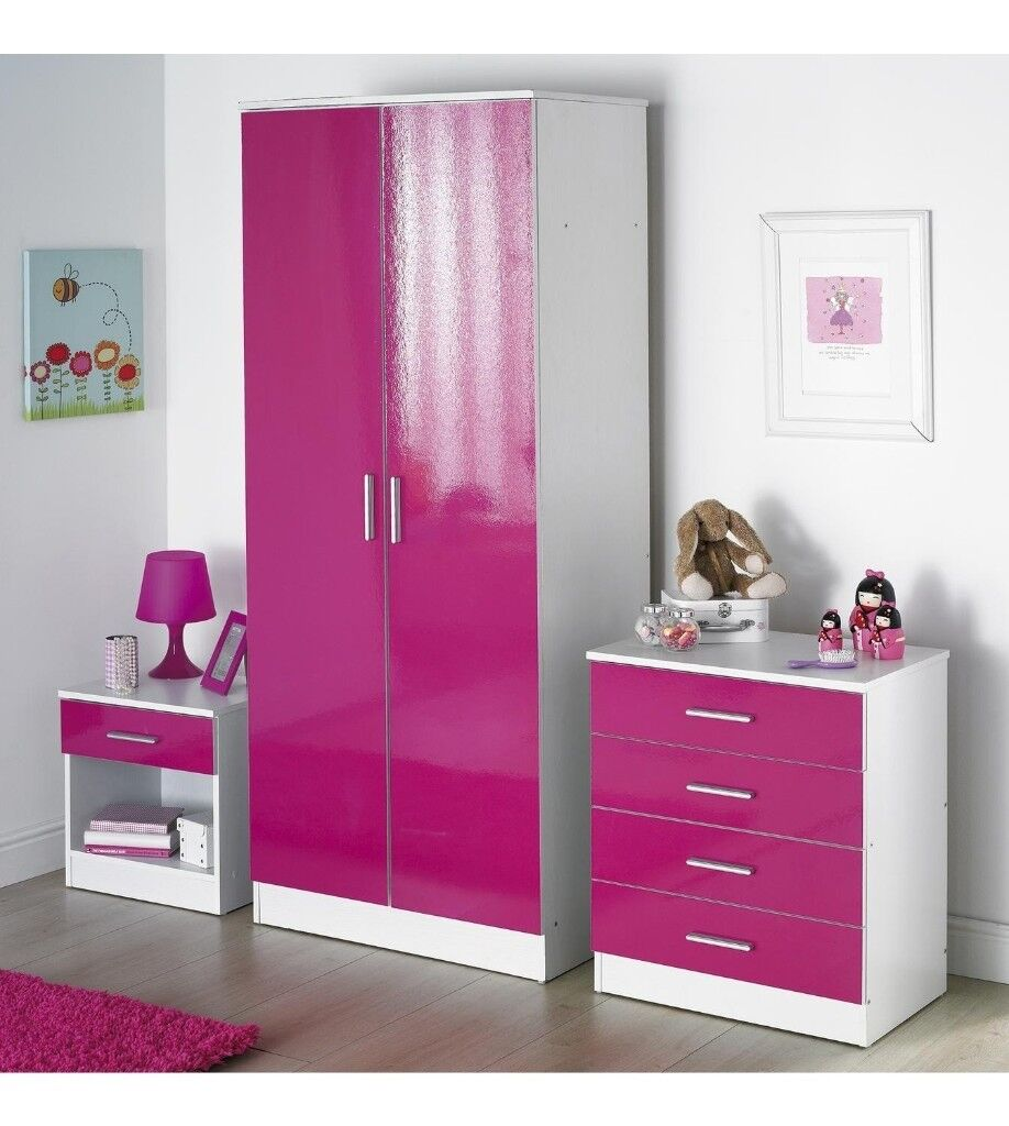 3 Piece 2 Door Wardrobe High Gloss Drawer Chest Bedside