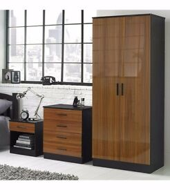 Brand New 3 PC Walnut High Gloss Fronts Bedroom Set Wardrobe Chest of Drawers Bedside Cabinet