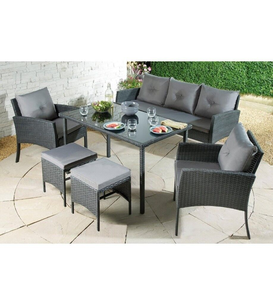 Brand New Palermo Outdoor Garden Rattan Wicker Cushions Dining 7 Seater  Lounge Set - Black/Grey - Brand New Palermo Outdoor Garden Rattan Wicker Cushions Dining