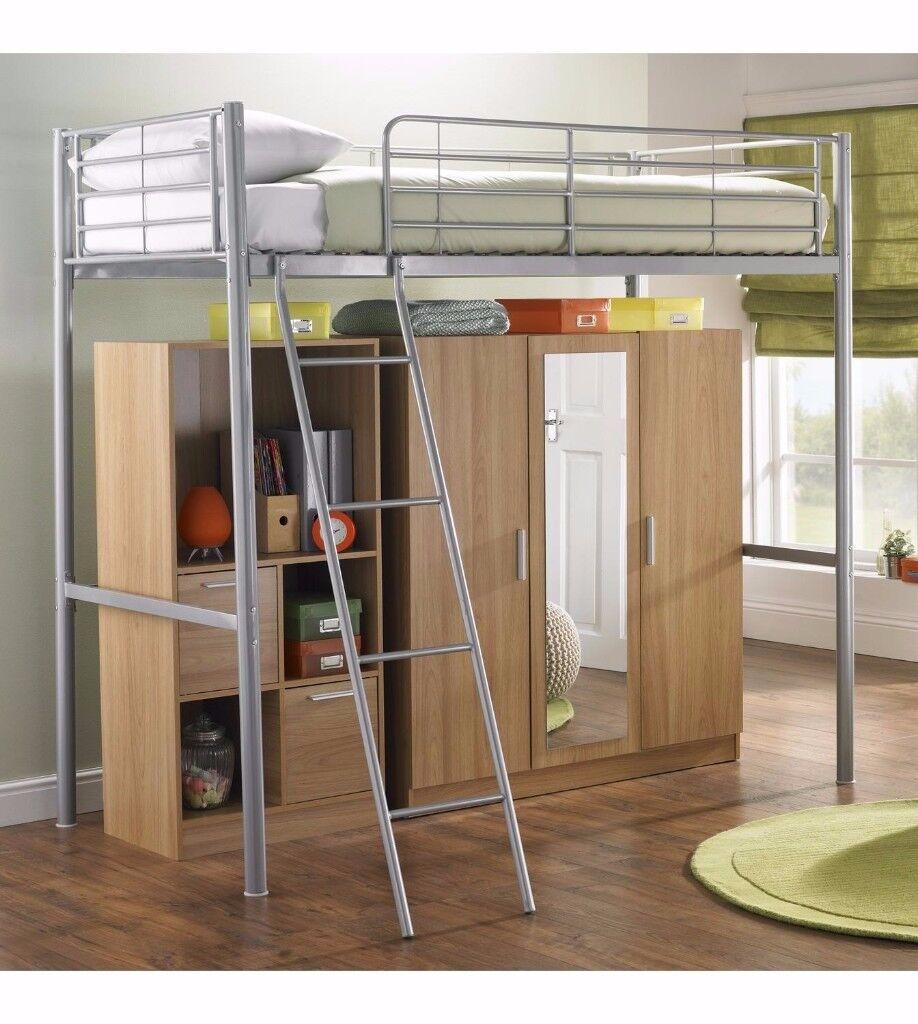 New Storage High Sleeper single Bed Wardrobe mirrored mirror Grey/Oak effect *