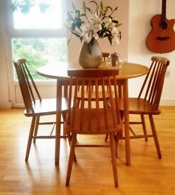 Natural Solid Wooden Dining Table Set - Leaf Folding Table with 4 Chairs - May Deliver