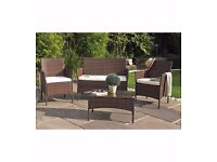 Brand New Venice 4-Piece Rattan-Effect Set Bench 2 Chairs Coffee Table Natural / Cream