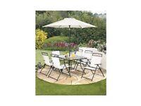 Brand New Kent 8-Piece Garden Outdoor 6 Chairs Glass Table with Tilt Parasol Patio Set - Cream