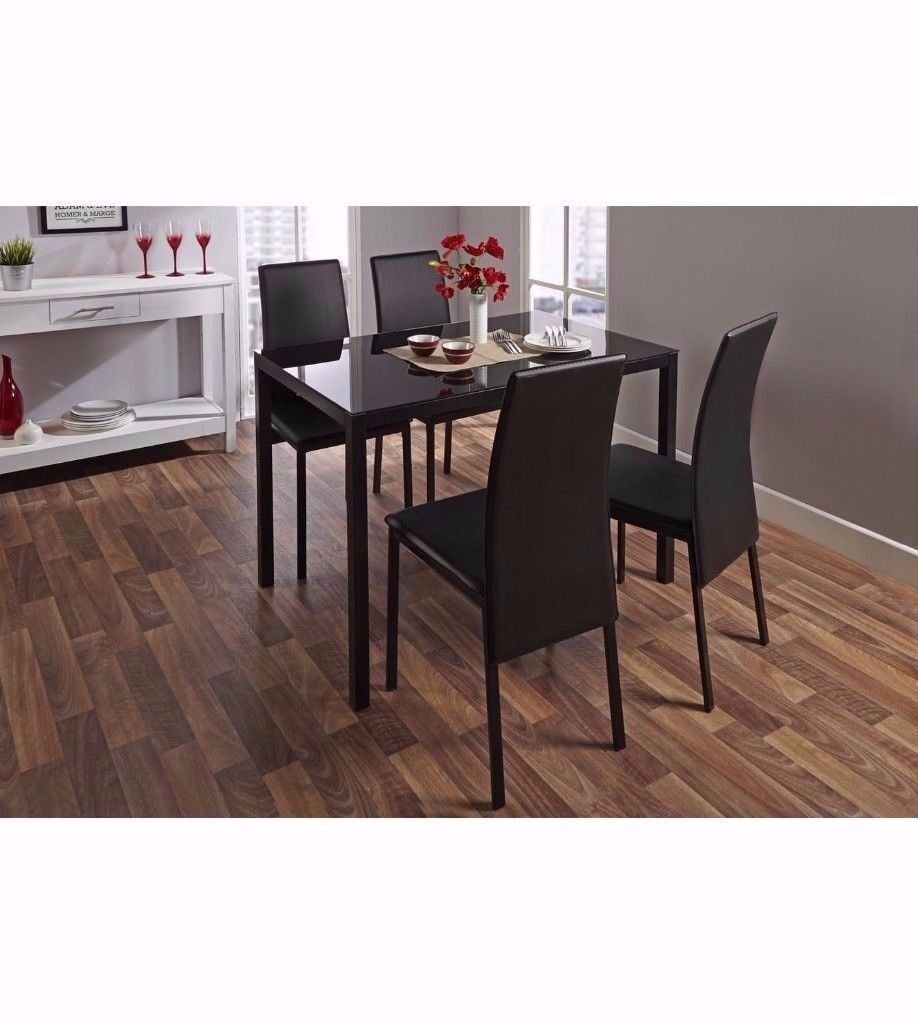 Christmas Sale Brand New MODERN DINING GLASS TABLE 4 CHAIRS LEATHER SET
