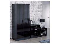 Brand New Luxury Carleton 3-Piece High Gloss Drawer Wardrobe Bedside Table Bedroom Set