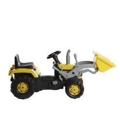 Brand New Dolu Childrens Kids Yellow Pedal Operated Farm Tractor With Trailer Ride on Vehicle