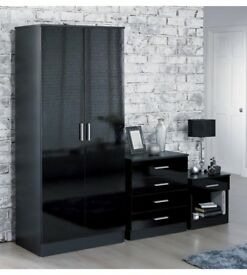 Brand New Carleton High Gloss 3-Piece 2 Door Wardrobe, 4 Drawer Chest and Bedside Table Bedroom Set