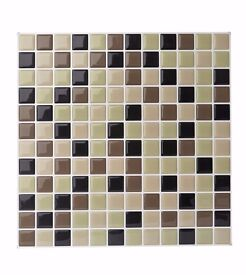 Pack of 6 self adhesive 3D wall tiles in olive