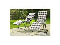 Brand New Cream Set of 2 Cushioned Comfortable Garden Patio Outdoor Chairs