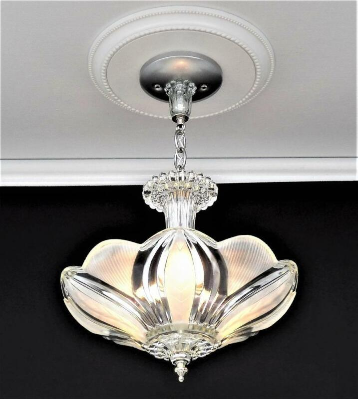 Art Deco Sunflower / Lotus Ceiling Light / Chandelier Glass Shade Clear Frosted