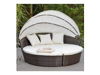 Brand New Sicily Modular Rattan Day Bed With Canopy Outdoor Garden Patio Set - Natural Brown/Cream