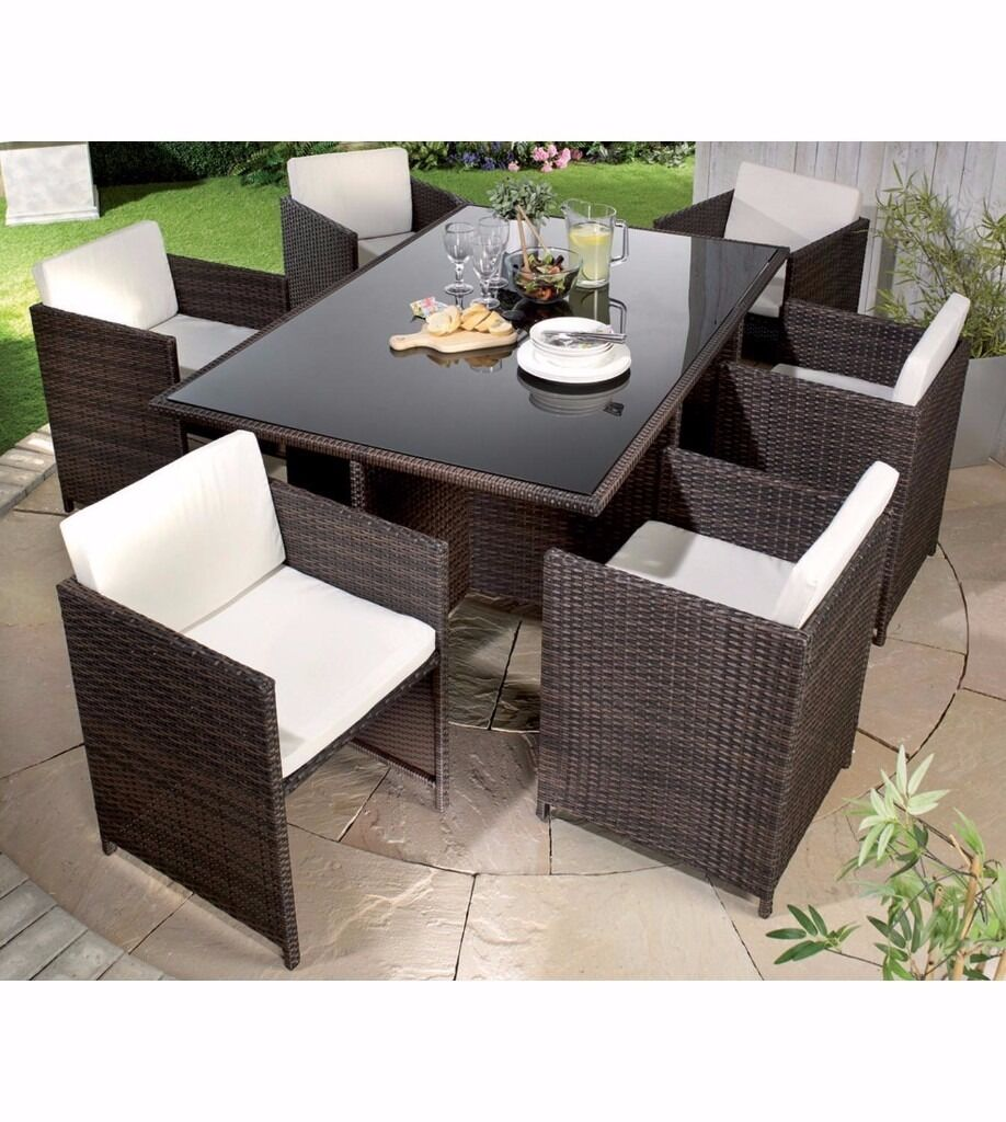 Brand New Monaco 7 Piece Rattan Cube Dining Set Natural with