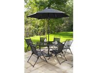 Brand New Kent 8 Piece Armchair Table and Parasol Garden Outdoor Dining Patio Set - Black
