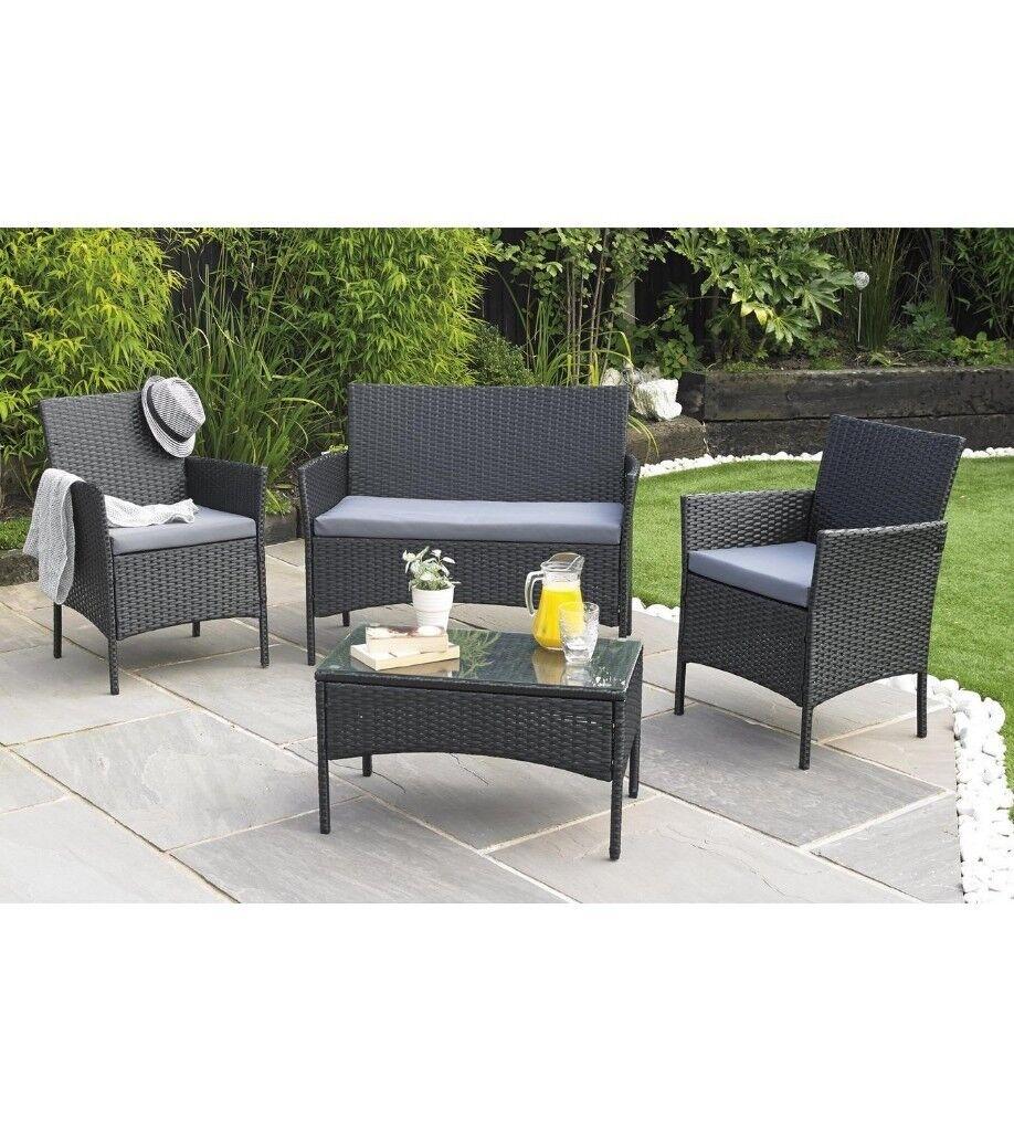 Venice rattan effect 4 piece garden patio outdoor set black grey
